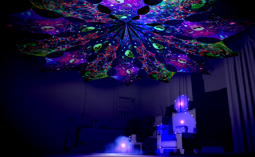 Space Skulls and Psychedelic Exoskeleton Canopy Petal Design UV-Reactive Print