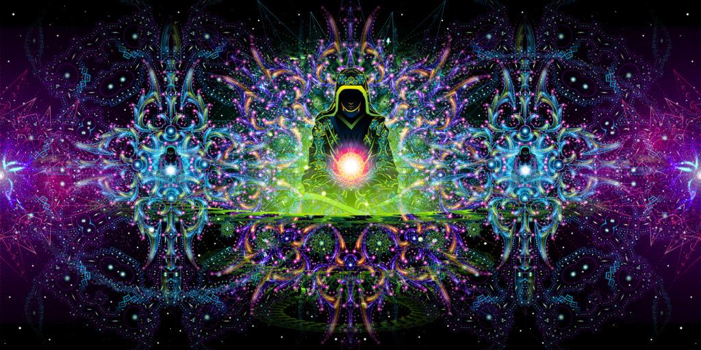 Enlightenment - 3 Adepts Version - Psychedelic UV-Reactive Tapestry Design