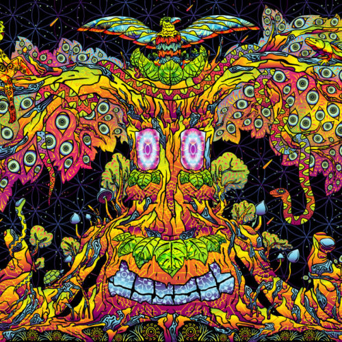 Trippy Treant Psychedelic Fluorescent UV-Reactive Tapestry