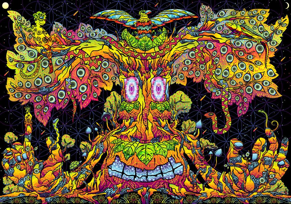 Trippy Treant UV Dark Tapestry Psychedelic Fluorescent ...