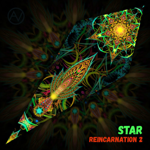 "Reincarnation 2 - Psychedelic UV-Reactive Canopy - Petal Design - ""Star"""