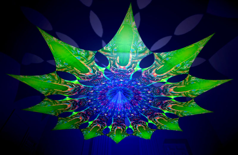 Alien Enlightenment - Trippy Alien Design - UV-Reactive Canopy