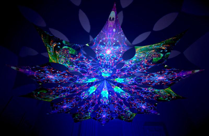 Alien Enlightenment - Alien Galaxy & Psychedelic Exoskeleton Design - UV-Reactive Canopy