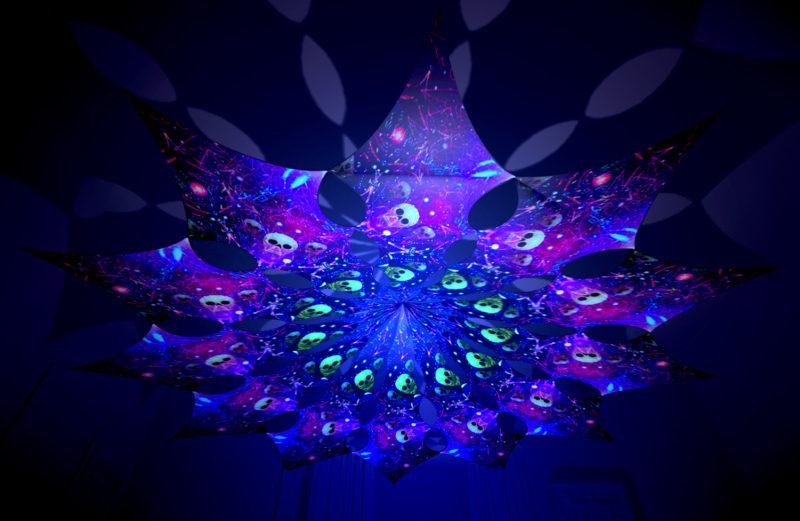 Alien Enlightenment - Space Skulls Design - UV-Reactive Canopy