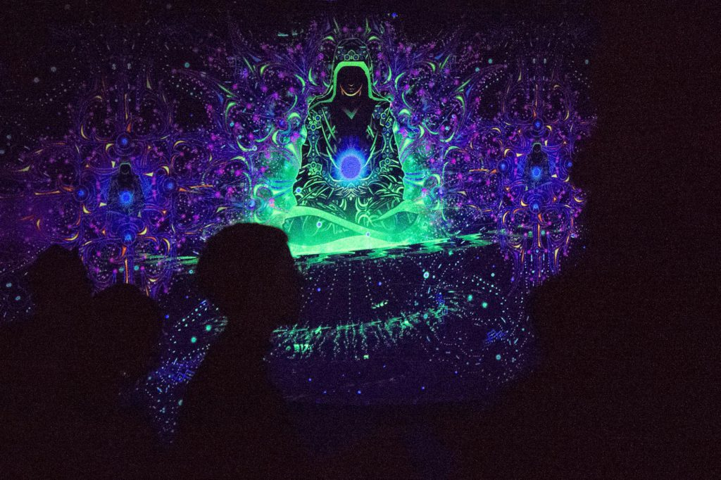 Pangea Gathering - Enlightenment - 3 Adepts - UV-Reactive Tapestry by Andrei Verner