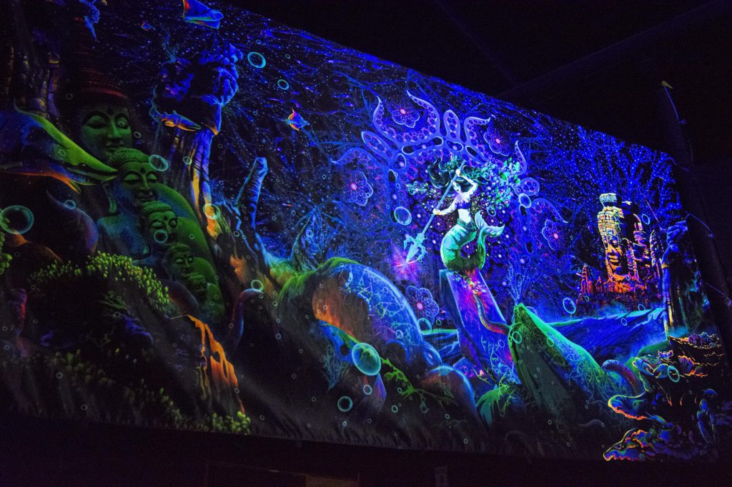 Pangea Gathering - Epic Underwater Kingdom - UV-Reactive Tapestry by Andrei Verner