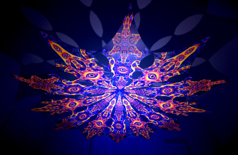 Abracadabra - Central Eye & Big Star Psychedelic UV-Reactive Canopy - 12 Petals Set