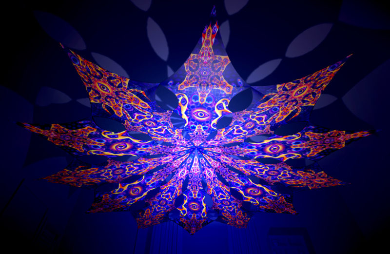 Abracadabra - Central Eye & Two Stars Psychedelic UV-Reactive Canopy - 12 Petals Set
