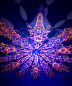 Abracadabra - Big Star & Two Stars Psychedelic UV-Reactive Canopy - 12 Petals Set