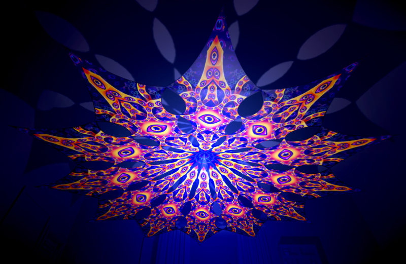 Abracadabra - Big Star Psychedelic UV-Reactive Canopy - 12 Petals Set