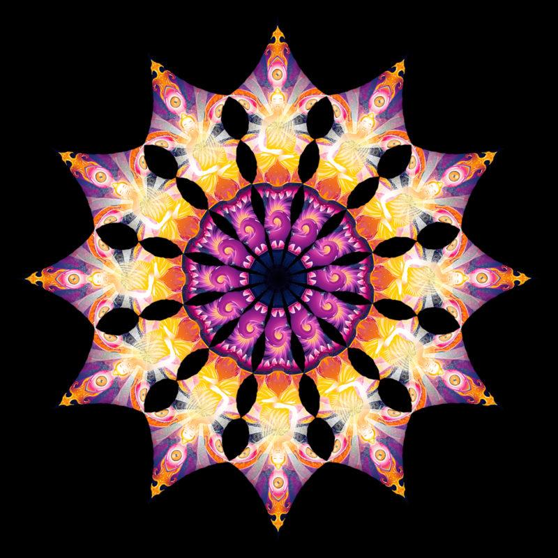 Frozen Corals - Buddha - Design Top View - Psychedelic UV-Reactive Canopy - 12 Petals Set