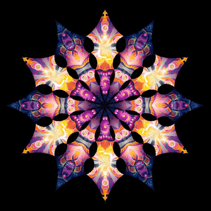 Frozen Corals - Buddha&Corals - Design Top View - Psychedelic UV-Reactive Canopy - 12 Petals Set