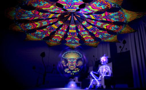 Magic Mushroom God - GeoShroom & Trippy Pillar - Psychedelic UV-Reactive Canopy