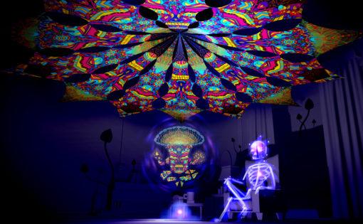 Magic Mushroom God - GeoShroom & Spirit Monkey - Psychedelic UV-Reactive Canopy