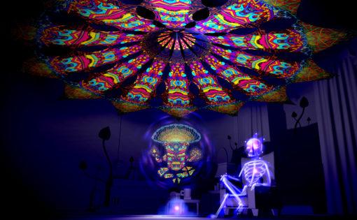 Magic Mushroom God - Trippy Pillar - Psychedelic UV-Reactive Canopy