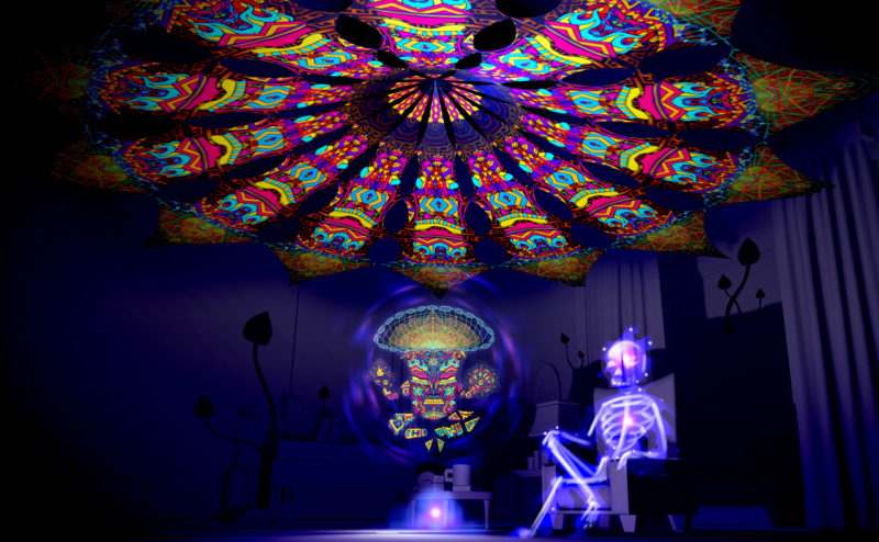 Magic Mushroom God - Trippy Pillar - Psychedelic UV-Reactive Canopy