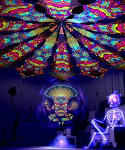 Magic Mushroom God - Trippy Pillar & Spirit Monkey - Psychedelic UV-Reactive Canopy
