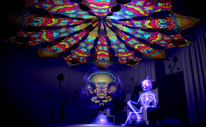 Magic Mushroom God - Trippy Pillar & Spirit Monkey - Psychedelic UV-Reactive Canopy