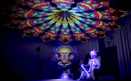 Magic Mushroom God - Spirit Monkey - Psychedelic UV-Reactive Canopy