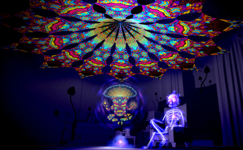 Magic Mushroom God - Spirit Monkey - Psychedelic UV-Reactive Canopy