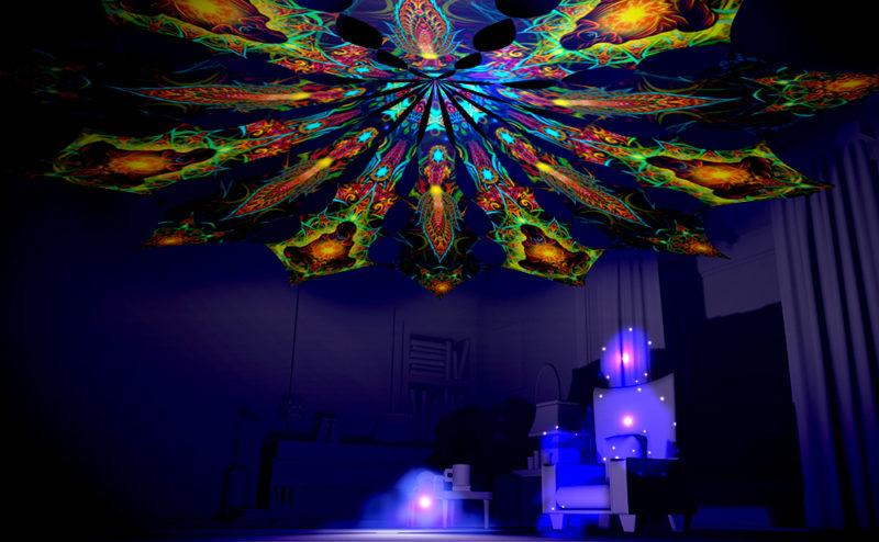 Adept & Star - Reincarnation 2 Psychedelic UV-Reactive Canopy 12 Petals