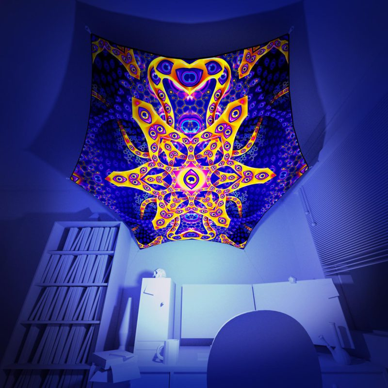 Abracadabra - Hexagon - Psychedelic UV-Reactive Canopy Part - 3D preview