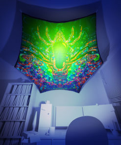 Alien Enlightenment - Hexagon - Stretchable UV-Print on Lycra Design - 3D Interior Preview
