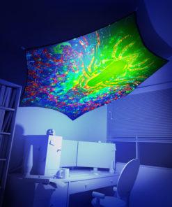 Alien Enlightenment - Hexagon - Stretchable UV-Print on Lycra Design - 3D Interior Preview