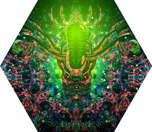 Alien Enlightenment - Hexagon - Stretchable UV-Print on Lycra Design