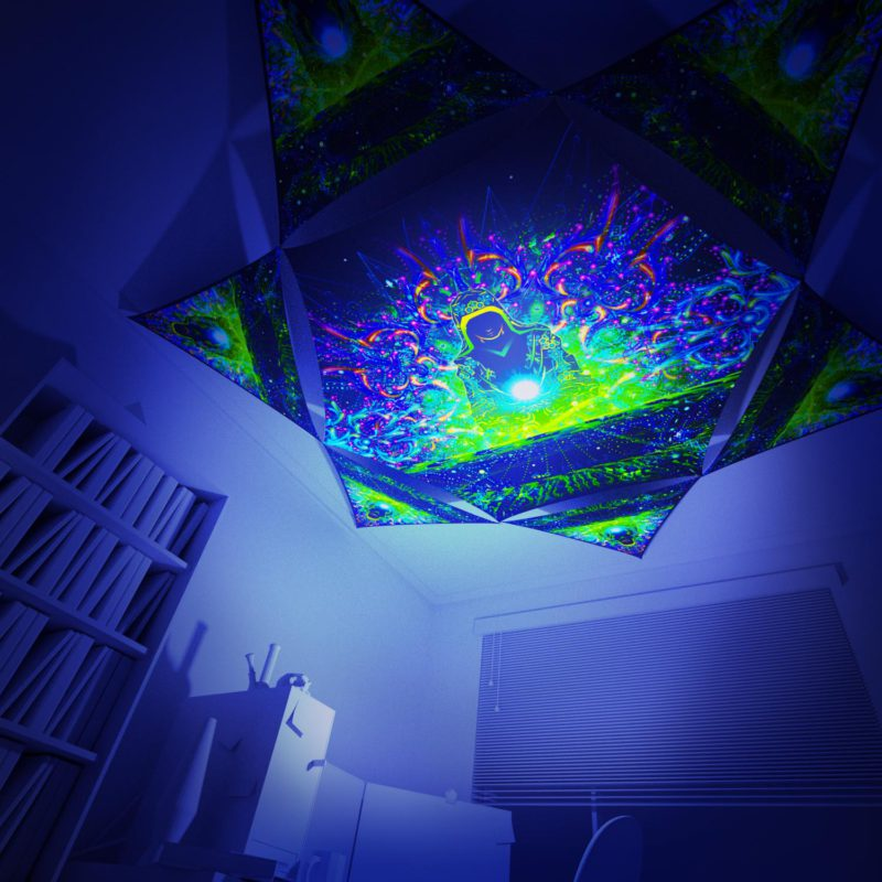 Enlightenment - Hexagon and 6 Triangles Pack - Psychedelic UV-Reactive Canopy Set - 3D preview