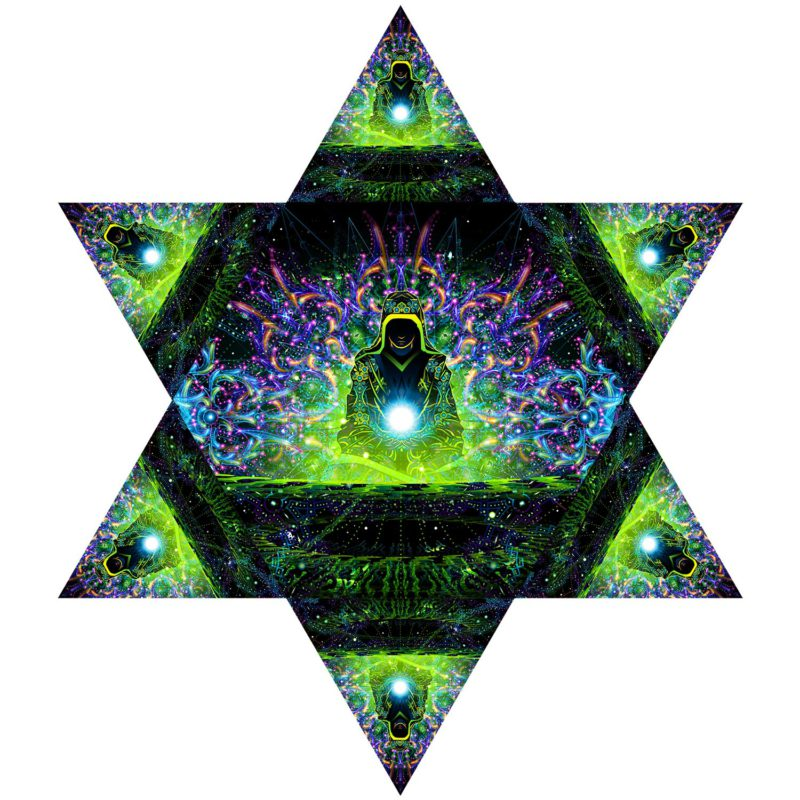 Enlightenment - Hexagon and 6 Triangles Pack - Psychedelic UV-Reactive Canopy Set - Design