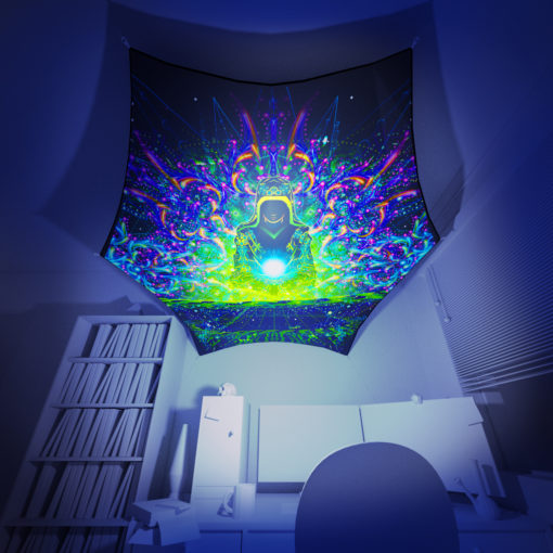 Enlightenment - Hexagon - Stretchable UV-Print on Lycra Design - 3D Interior Preview