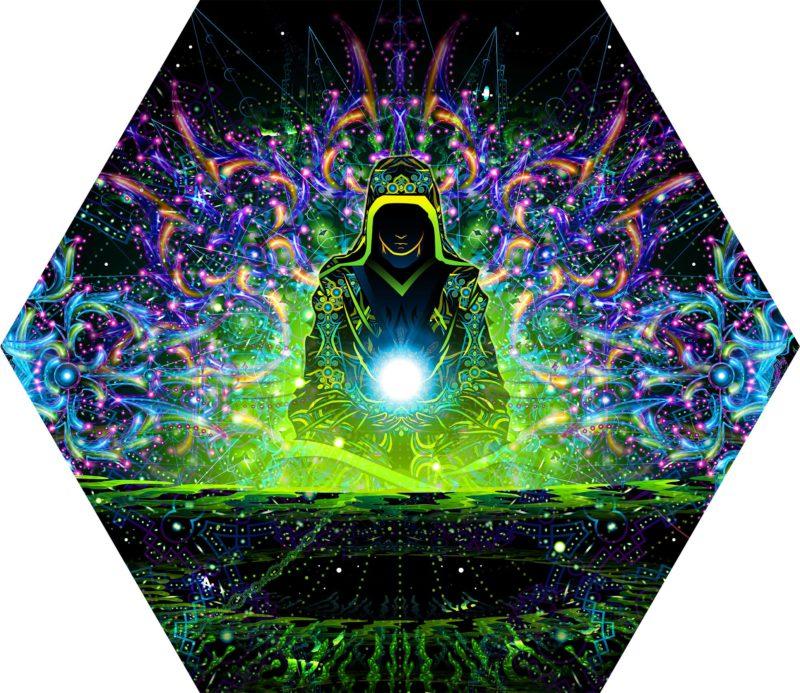 Enlightenment - Hexagon - Stretchable UV-Print on Lycra Design