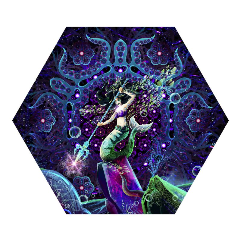 Epic Underwater Kingdom - Hexagon - Psychedelic UV-Reactive Canopy Part