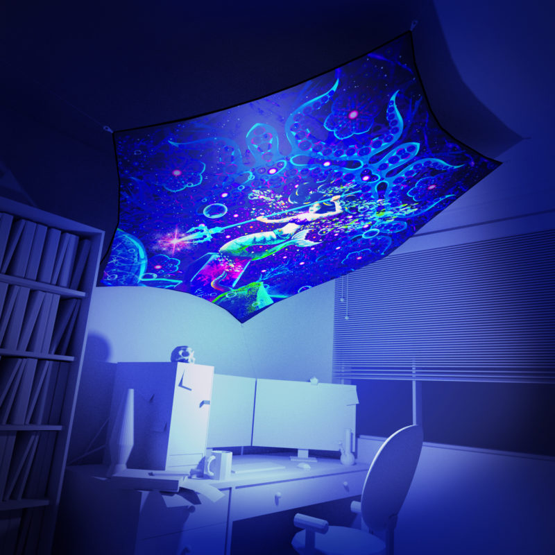 Epic Underwater Kingdom - Hexagon - Psychedelic UV-Reactive Canopy Part - 3D preview