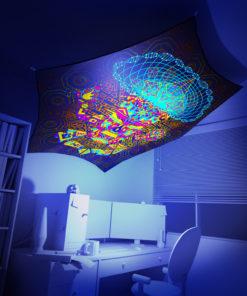 Mushroom God - Hexagon - Stretchable UV-Print on Lycra Design - 3D Interior Preview