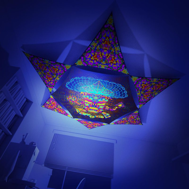 Mushroom God - Hexagon and 6 Triangles Pack - Psychedelic UV-Reactive Canopy Set - 3D preview