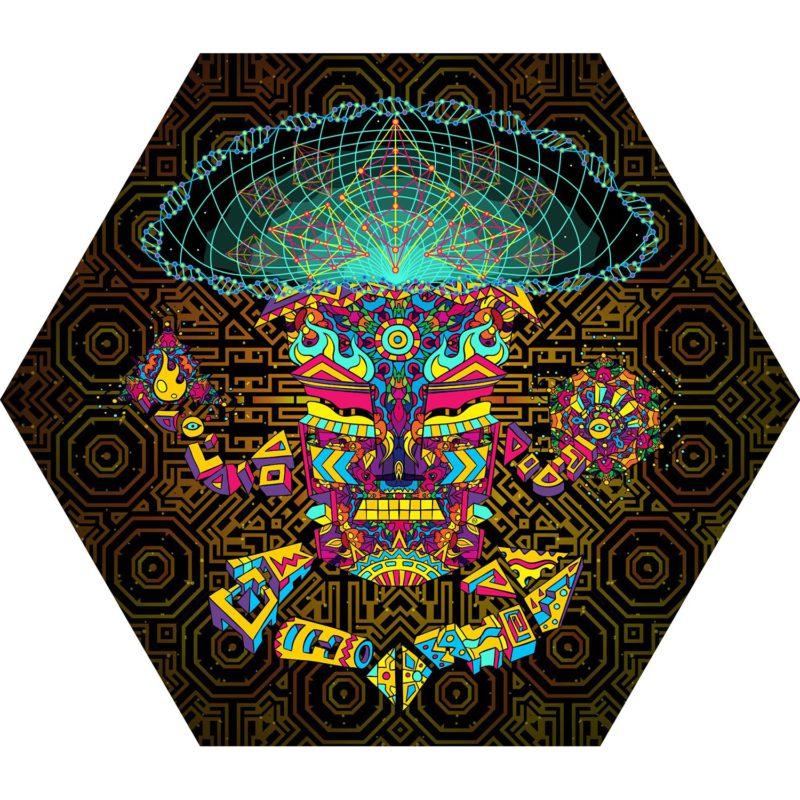 Mushroom God - Hexagon - Stretchable UV-Print on Lycra Design