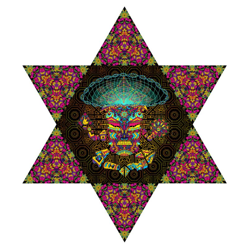 Mushroom God - Hexagon and 6 Triangles - Stretchable UV-Print on Lycra Design