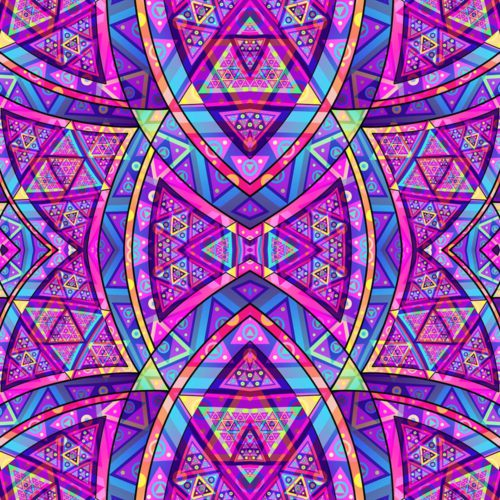 Purple Glass Fractal - Psychedelic UV-Reactive Tapestry Backdrop Wall Hanging Art