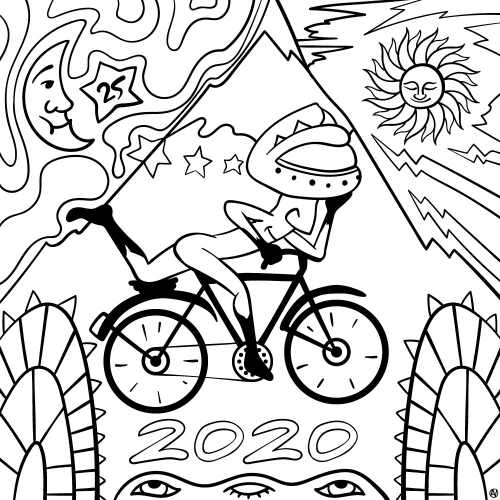 Bicycle Day Coloring Page - Free Download
