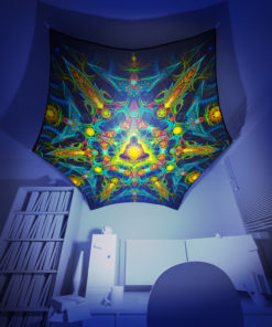 Reincarnation 2 - Hexagon - Stretchable UV-Print on Lycra Design - 3D Interior Preview