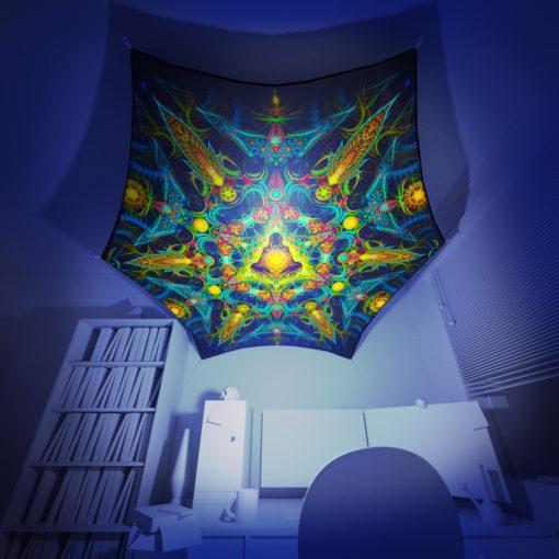 Reincarnation 2 - Hexagon - Stretchable UV-Print on Lycra Design - 3D Interior Preview
