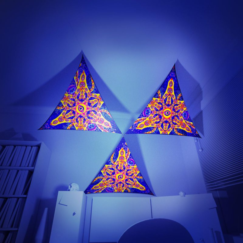 Abracadabra - 3 Triangles Pack - Psychedelic UV-Reactive Canopy Part - 3D preview