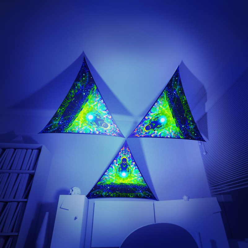 Enlightenment - 3 Triangles Pack - Psychedelic UV-Reactive Canopy Part - 3D preview