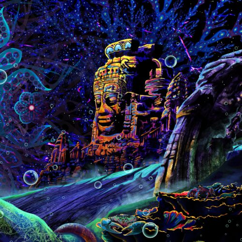 Golden Buddha Temple Psychedelic UV-Reactive Tapestry