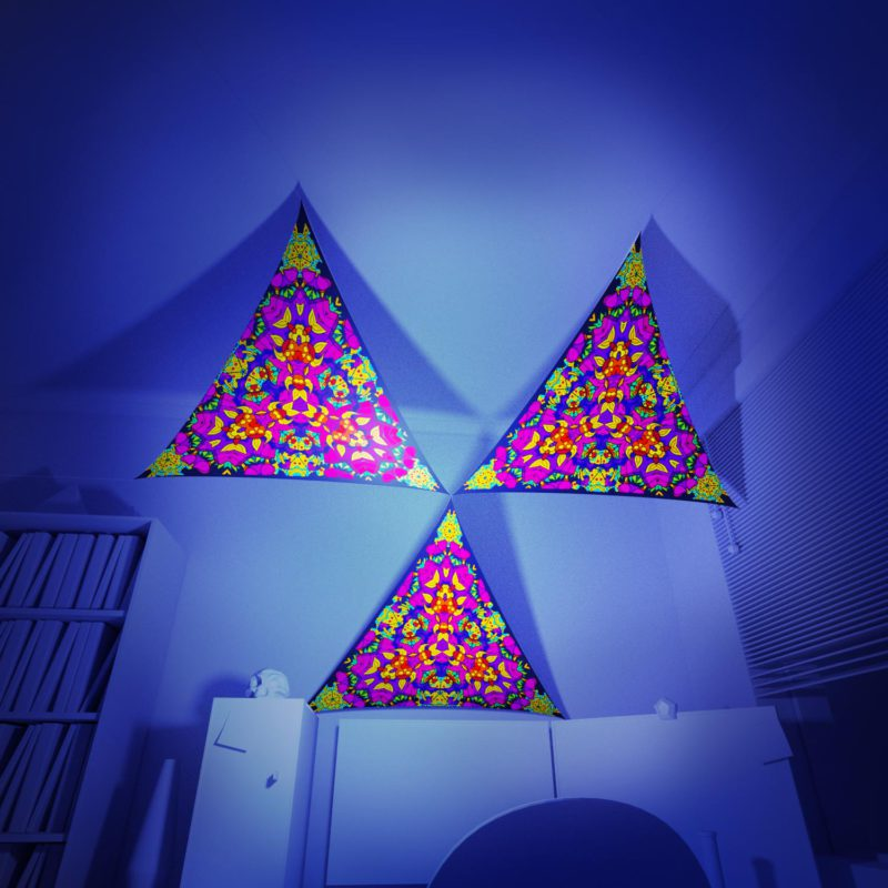 Mushroom God - 3 Triangles Pack - Psychedelic UV-Reactive Canopy Part - 3D preview