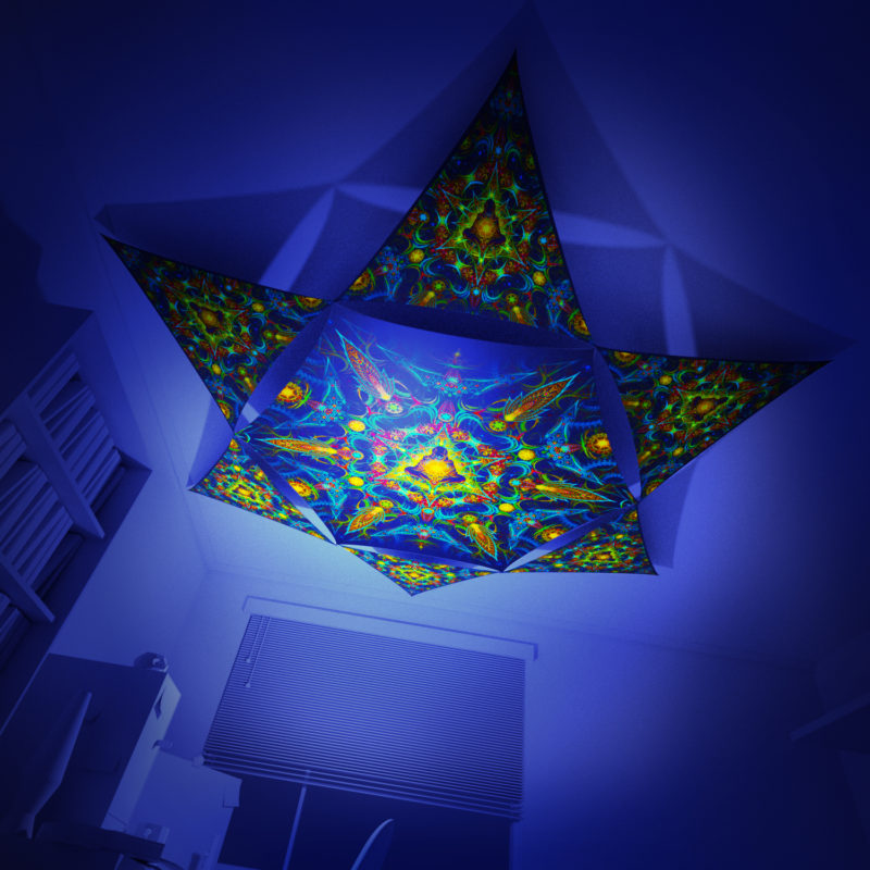 Reincarnation 2 - Hexagon and 6 Triangles Pack - Psychedelic UV-Reactive Canopy Set - 3D preview