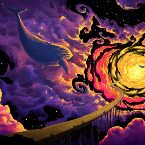 Trip to Nebula - UV Backdrop XL Dark Tapestry Psychedelic Fluorescent Wall Art