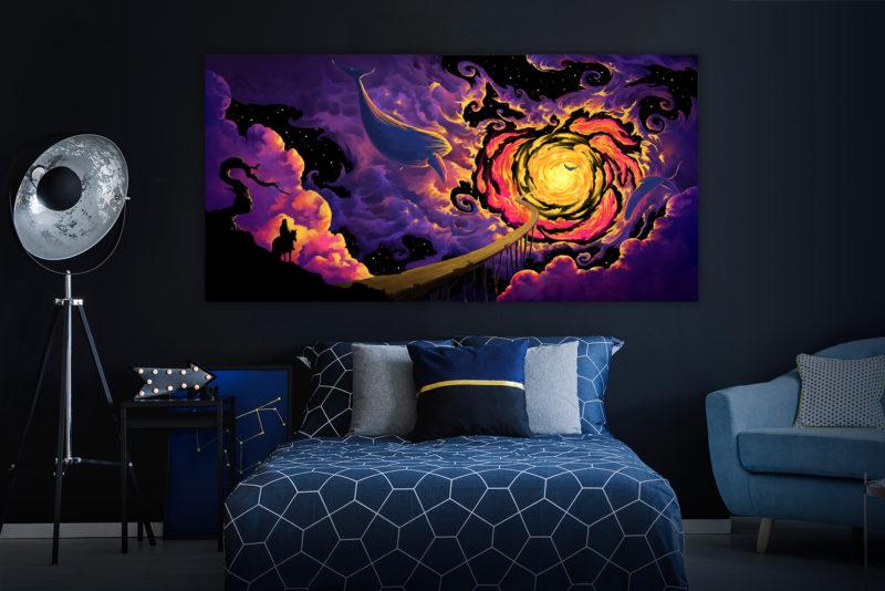 Trip to Nebula - UV Backdrop XL Dark Tapestry Psychedelic Fluorescent Wall Art - Dark Interior Preview